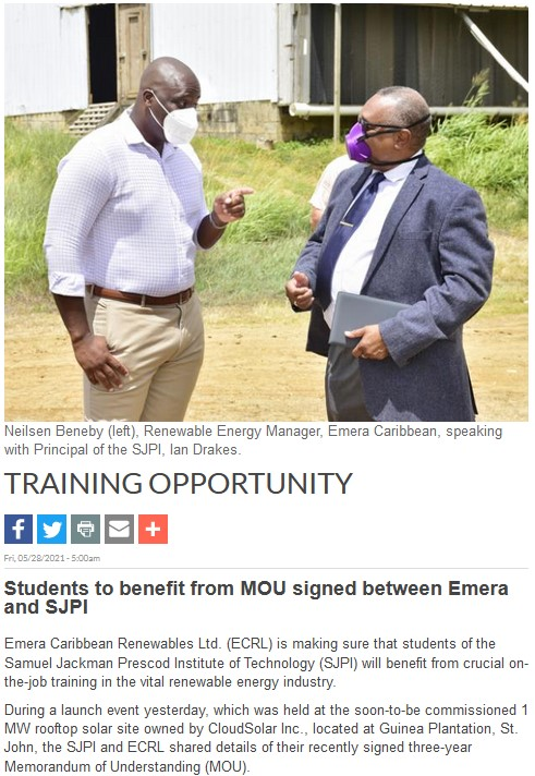 Training Opportunity: Students to benefit from MOU signed between Emera and SJPI